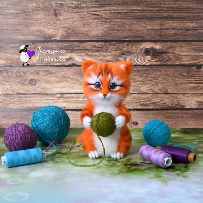 Котёнок Рыжик Сухое валяние, Валяние, Котёнок из шерсти, Котёнок с клубком, Кот