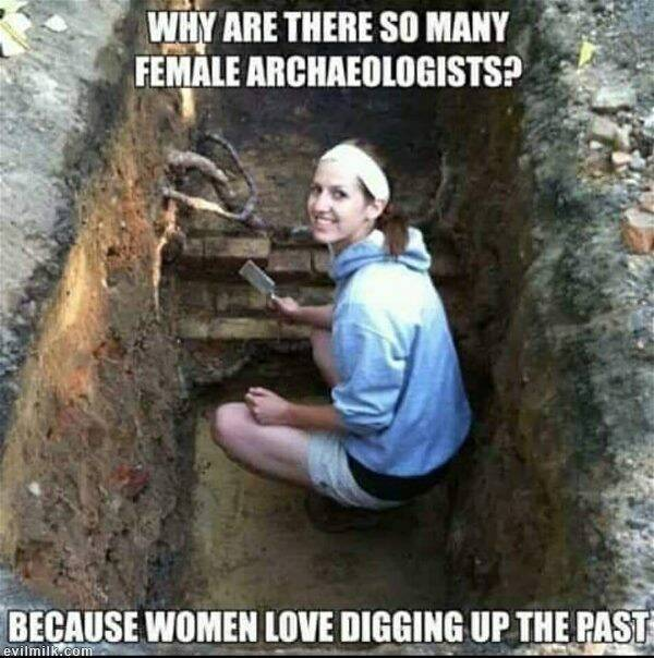 Почему так много женщин археолов? Мужчины и женщины, Археология, Раскопки, Археологические раскопки, Прошлое, Мемы, Юмор