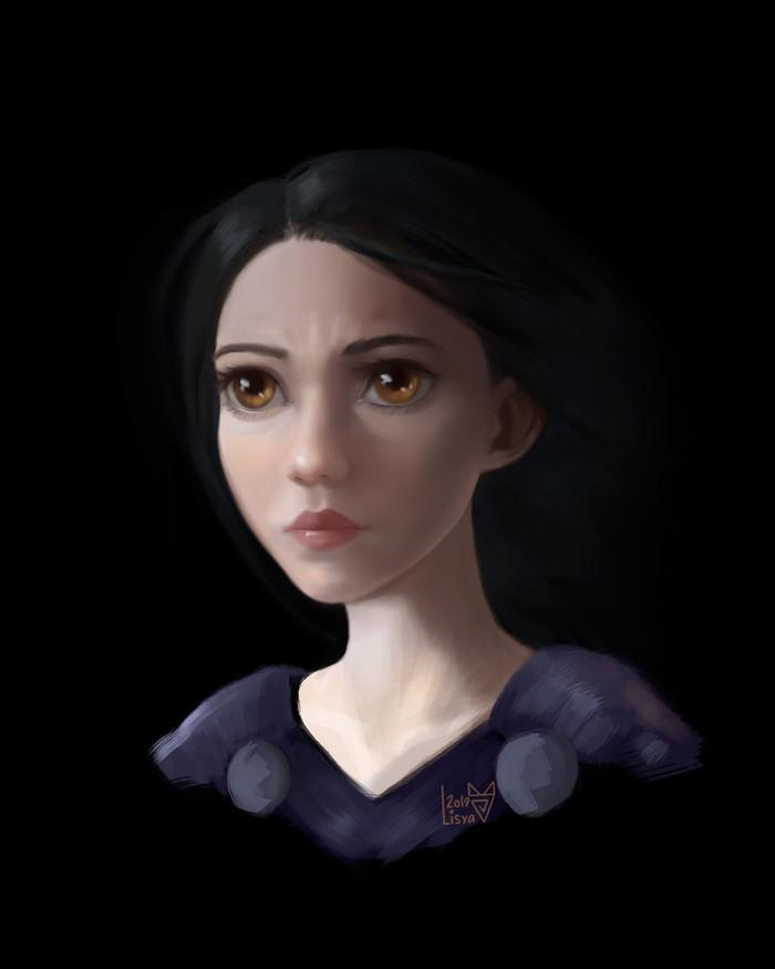 Alita: Battle Angel Digital, Рисунок, Цифровой рисунок, Фильмы, Фан-Арт, Портрет, Девушки, Алита: Боевой ангел