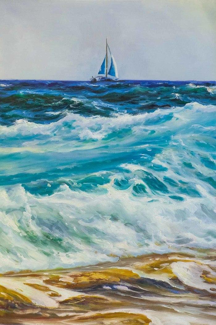 Три цвета моря Картина, Море, Волна, Живопись, Современное искусство, Морской, Искусство