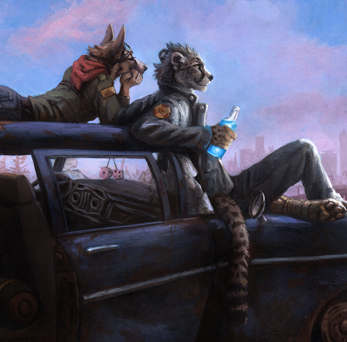 Retro Wasteland Фурри, Арт, Kenket, Fallout, Гепард, Традиционный арт