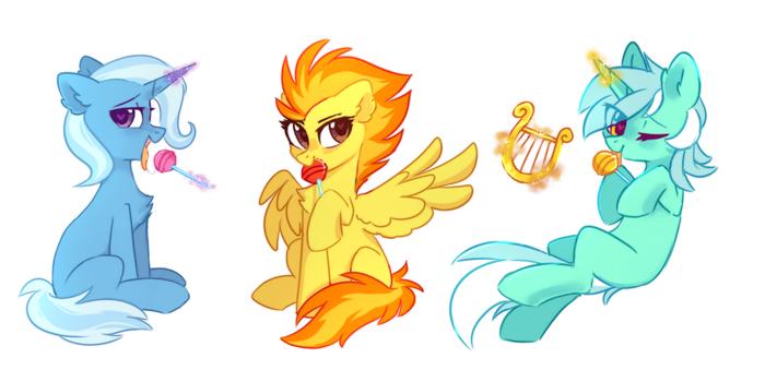 У каждой пони свой стиль обращения со сладостями My Little Pony, Spitfire, Trixie, Lyra Heartstrings, Леденец, Mirtash