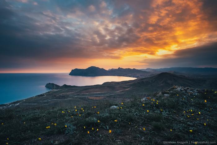 Весна в Крыму Крым, Закат, Фотография, Море, Небо, Коктебель