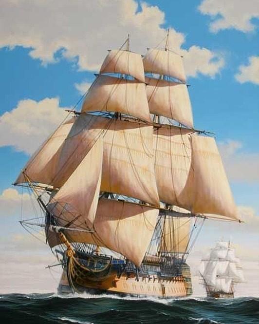 Под парусами - 2 Море, Художник-Маринист, Корабль, Парус, Шторм, Длиннопост, Искусство, Живопись