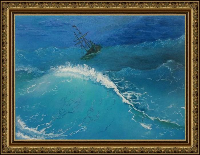 Закончил картину. Морской пейзаж. Картина, Акрил, Начинающий художник, Море, Длиннопост