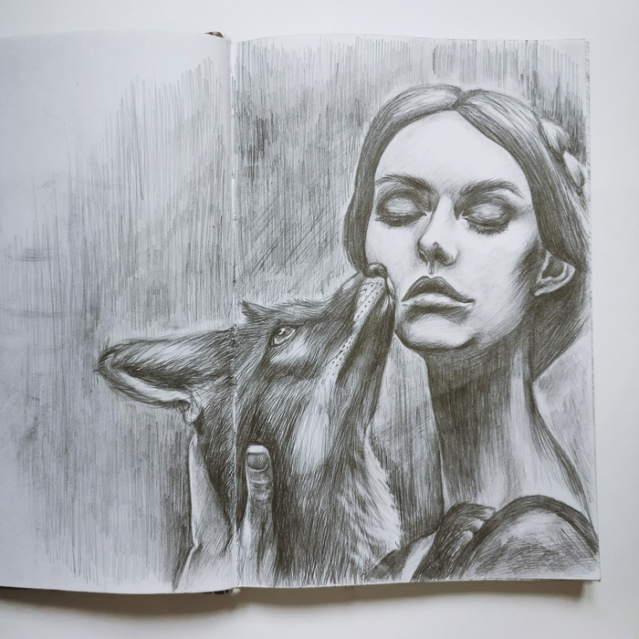 Зарисовки из скетчбука Рисунок карандашом, Скетчбук, Лиса, Арт, Рисунок, Портрет, Животные, Девушки