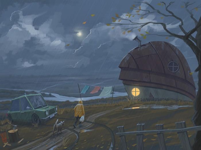 Как говорится, каждая погода благодать Зима, Рисунок, Девочка, Природа, Дождь, Снег, Длиннопост, Цифровой рисунок, Погода