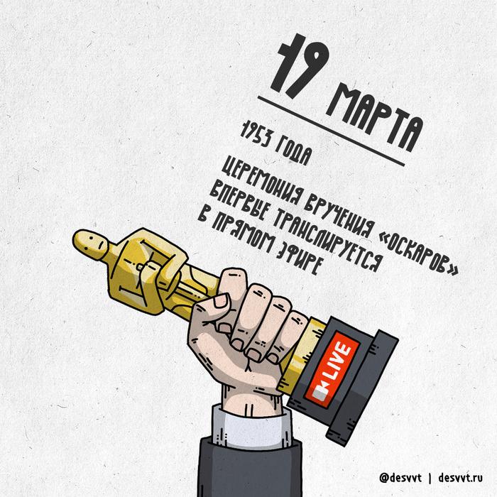 """(110/366) 19 марта состоялась первая прямая трансляция """"Оскара"""" Проекткалендарь2, Рисунок, Иллюстрации, Оскар, Американская Киноакадемия, Прямой эфир, Награда"""