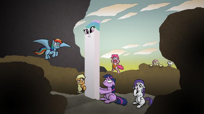 Вот это кроссовер. My Little Pony, Mane 6, Princess Celestia, Космическая одиссея, MLP Crossover, Banebuster