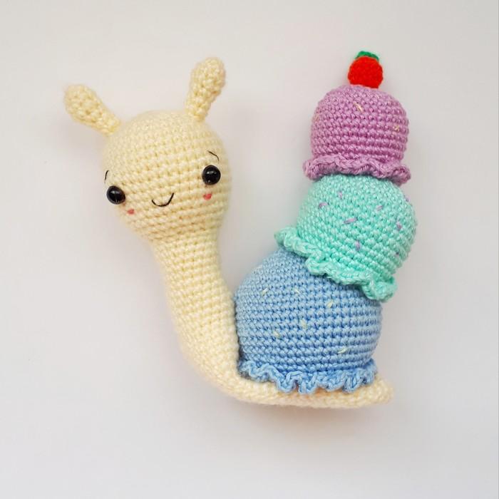 Улитка-мороженка (игрушка крючком) Рукоделие без процесса, Вязание крючком, Вязаные игрушки, Улитка