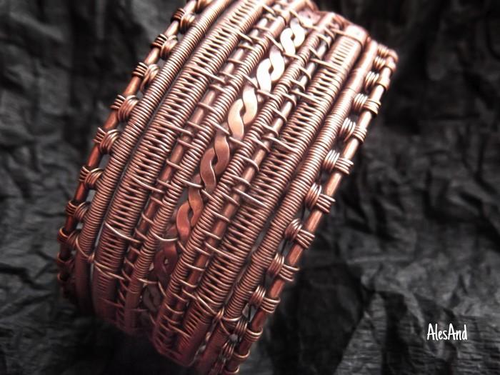 Широкий медный браслет. Ручная работа, Wire wrap, Украшения ручной работы, Медь, Рукоделие без процесса, Длиннопост