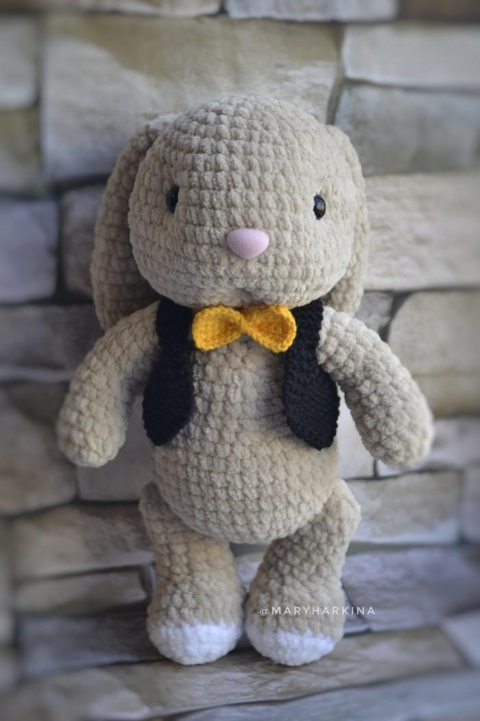 Заяц с бабочкой Заяц, Бабочка, Игрушки, Вязание, Вязаные игрушки, Длиннопост, Своими руками