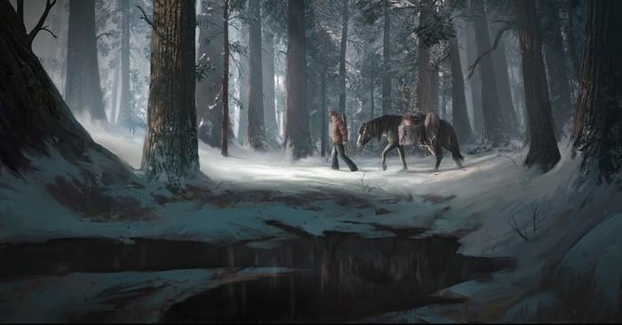 Вощвращение с охоты Арт, Рисунок, Охота