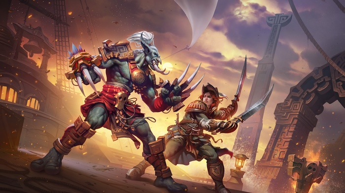 Противостояние союзных рас. Автор:Дмитрий Прозоров. WOW, Warcraft, World of Warcraft, Blizzard, Game Art, Арт, Творчество