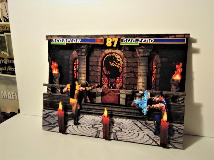 Диорама по игре Mortal Kombat 3 (The Temple stage) Диорама, Sega, Mortal Kombat, Крафт, Ретро-Игры, Длиннопост