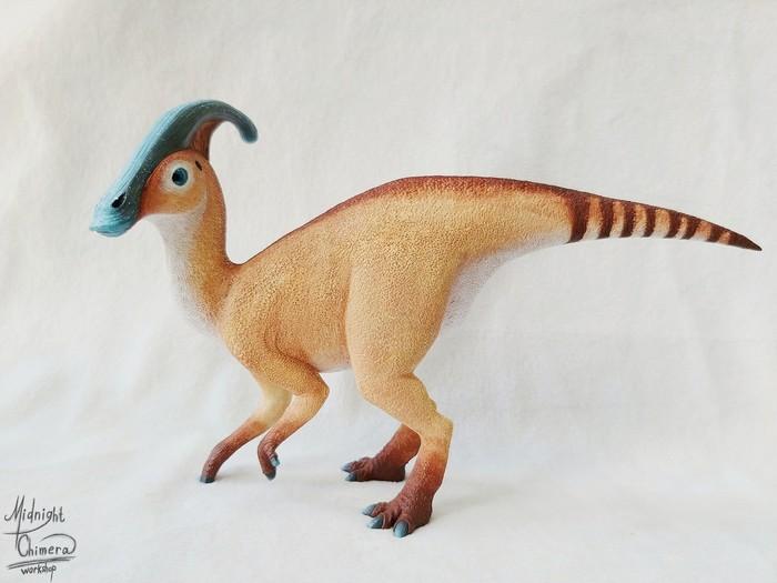 А вот и красавец к нам подоспел))) Длиннопост, Рукоделие без процесса, Динозавры, Полимерная глина, Своими руками, Фигурки из глины