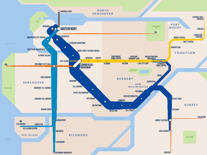 Оригинальная схема метро Ванкувера, где толщина линии соответствует загруженности