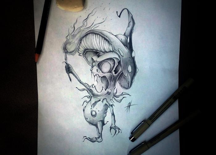 Гриб-огневик Карандаш, Персонажи, Грибы, Существа, Огонь, Рисунок карандашом, Рисунок