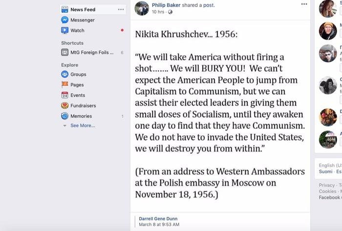 Злые коммунисты мечтают развалить Америку Политика, США, Хрущев, Пропаганда, Коммунизм, Скриншот, Facebook