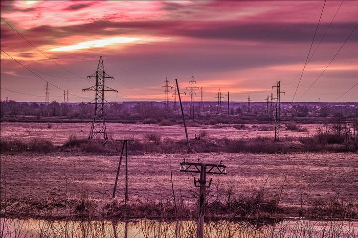 Энергия Фотография, Рассвет, ЛЭП, Lightroom