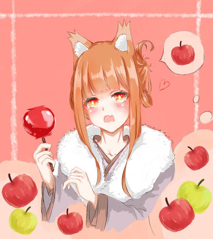 Повелительница всех яблок Horo Holo, Holo, Волчица и пряности, Anime Art, Аниме, Animal Ears