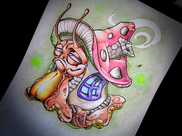 Улитка Улитка, Грибы, Цветные карандаши, Персонажи, Существа, Рисунок, Графика