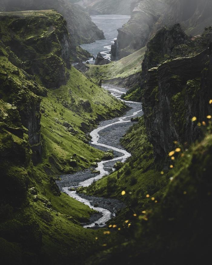 Каньон. Река. Исландия.