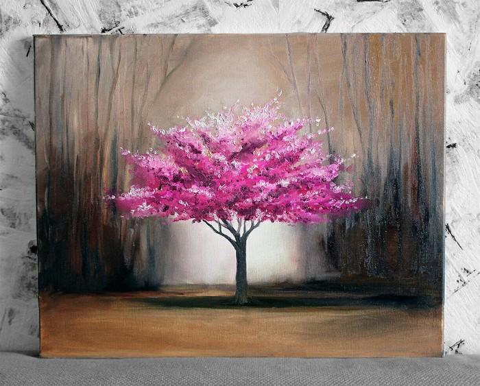 Розовое дерево Живопись, Картина маслом, Дерево, Холст, Свет