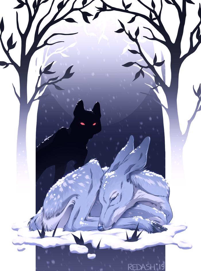 My Fawn [fanart] Арт, Музыка, Олененок, Волк, Цифровой рисунок, Рисунок