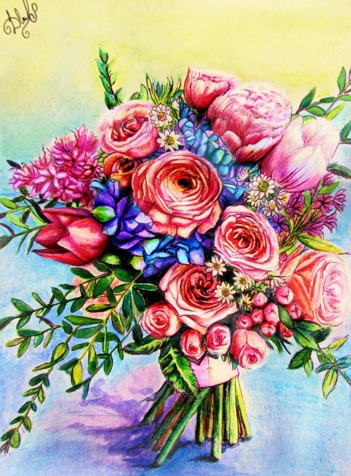Щепотка весеннего настроения Цветы, Тепло, Творчество, Арт, Цветные карандаши, Открытка, Рисунок, Весна