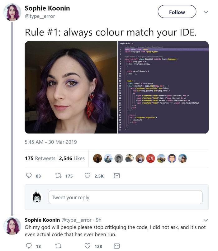 Правило №1 - используйте тот же цвет, что и ваш IDE. Программирование, Программист, Код, Ide, Макияж, Критика, Twitter, Скриншот