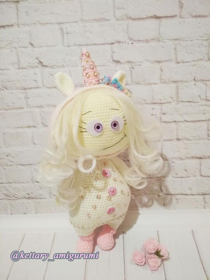 Малышка Бонни в костюме единорога Рукоделие без процесса, Амигуруми, Вязаные игрушки, Кукла, Подарок, Единорог, Вязание крючком, Длиннопост