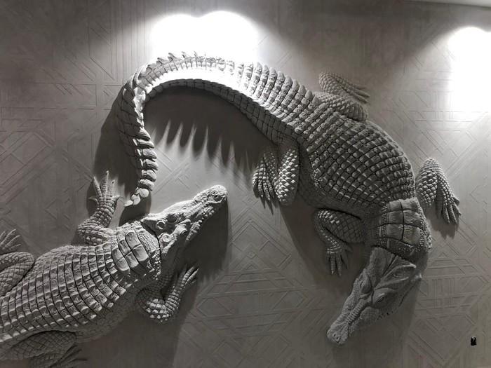 Крокодилы Барельеф, Интерьер, Крокодил, Лепнина, Длиннопост, Дизайн