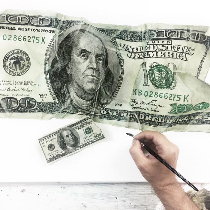 100 Долларов Акварель, Деньги, Доллар, Франклин, Рисунок, Живопись, Гифка, Видео, Длиннопост, Гиперреализм, Купюра