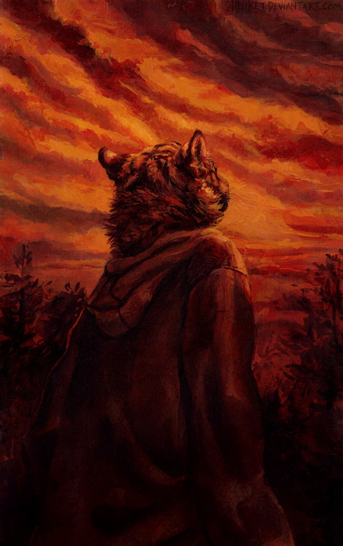Tiger Striped Sky Фурри, Furry Art, Антро, Furry Feline, Furry Tiger, Небо, Традиционный арт, Kenket