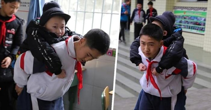 Мальчик шесть лет носил в школу друга-инвалида Новости, Китай, Школьники, Инвалид, Добро