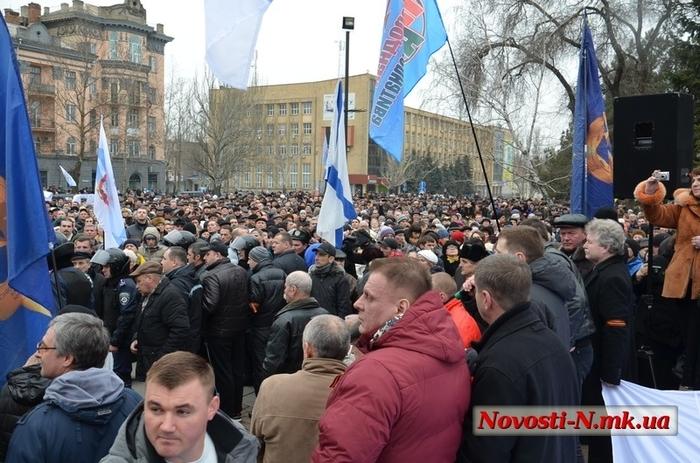 Как оно было в начале 14(4) Николаевский «антимайдан» скандировал «Россия!» Новороссия, Прошлое, Длиннопост, Видео