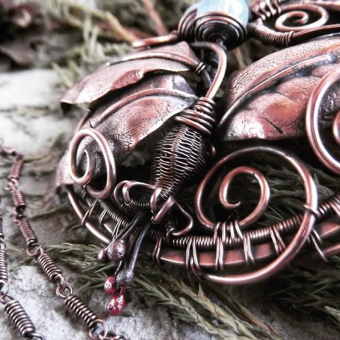 Плетенный медный медальон. Handcraft, Wire wrap, Рукоделие с процессом, Медь, Длиннопост, Медальон