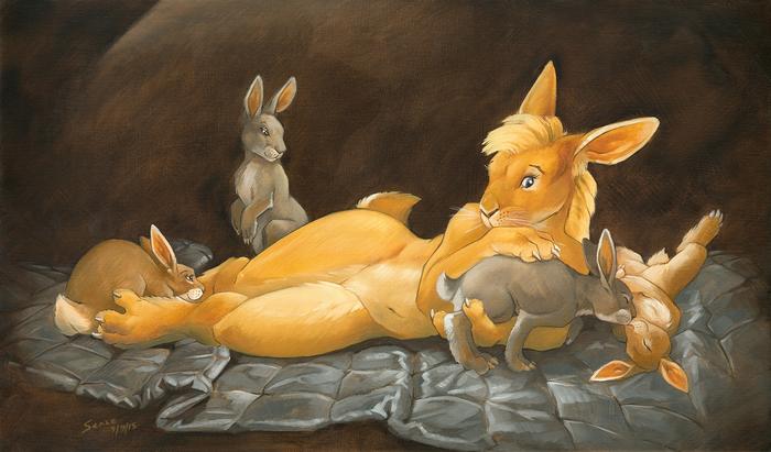 Silly bunnies Фурри, Furry Art, Furry rabbit, Кролик, Furry edge, Традиционный арт, Scale, Alessio-Scalerandi