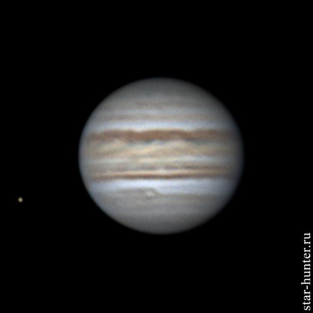 Юпитер и Европа, 7 апреля 2019 года, 03:43 Юпитер, Астрофото, Астрономия, Космос, Starhunter, Анападвор