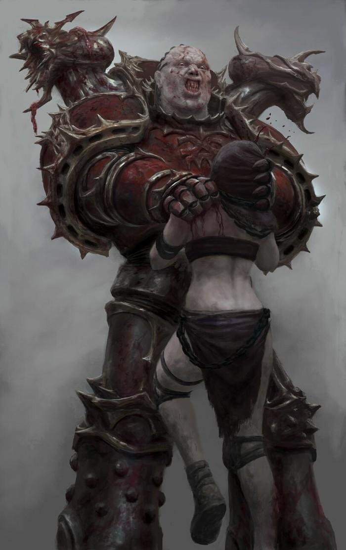 Продолжение. Warhammer 40k, Wh Art, Chaos Space marines, Adepta Sororitas, Sister repentia