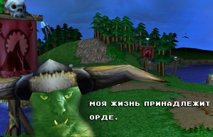 Лок'Тар Огар Старые игры и мемы, СИИМ, Кот, Warcraft, Warcraft 3, Photoshop, Игры, Компьютерные игры