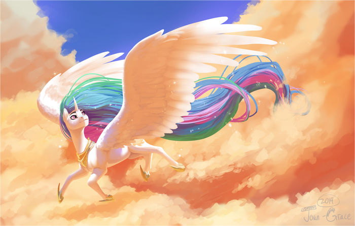 Afternoon in the Clouds My Little Pony, Princess Celestia, Облака, Joan-Grace, MLP ponies, Полет