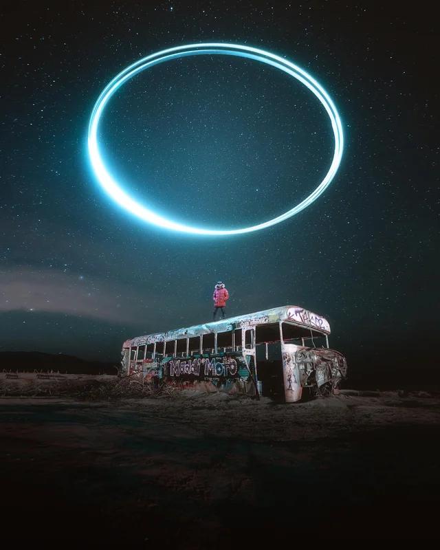 Снимокдрона , летящего по кругу