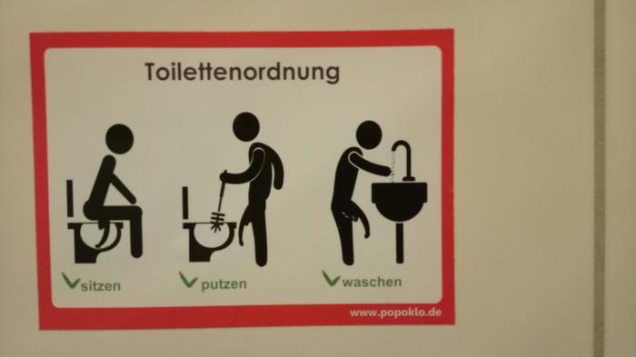 Немецкая непосредственность... Табличка, Туалет, Смешное, Германия