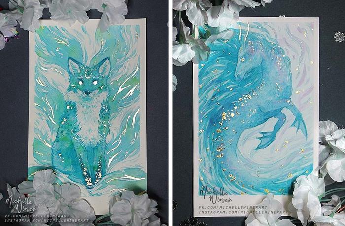 Сказочные существа в иллюстрациях и открытках Фан-Арт, Гарри Поттер, Феникс, Мифические существа, Открытка, Длиннопост, Существа, Рисунок, Акварель