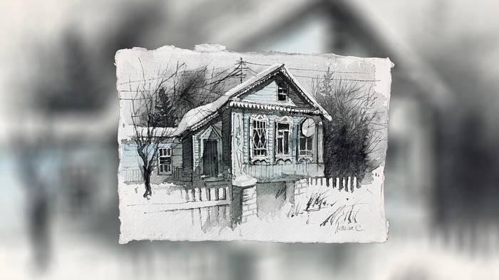 Быстрая акварельная зарисовка Акварель, Рисунок, Зарисовка, Деревня, Дом, Дерево, Видео, Гифка, Процесс рисования