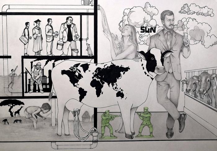 """"""" Земные богатства """" Рисунок карандашом, Арт, Комиксы, Графика, Иллюстрации, Постер, Длиннопост, Планета Земля"""