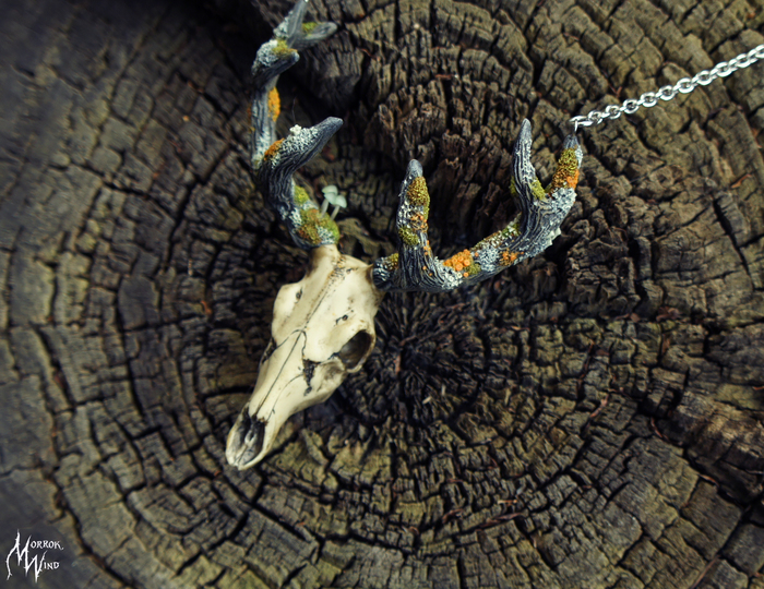 Кости-мхи! Череп с поросшими мхом лишайниками и миниатюрными грибами древесными рогами. Все из полимерной глины. Рукоделие без процесса, Полимерная глина, Длиннопост, Череп, Рога, Мох, Лишайники, Грибы