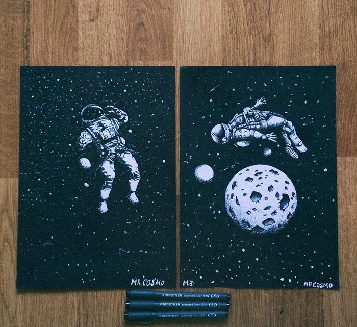 """Astronaut """"начало"""" Adobe Illustrator, Арт, Рисунок, Цифровой рисунок, Космонавт, Астронавт, Космос, Звёзды"""